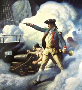 Vintage Art N C Wyeth Building 1st White House DC Capt John Paul Jones Pirate