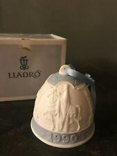Lladro Christmas Bell 1990, 4th Series, Wise Men, Bas Relief Blue w/Ribbon + Box