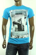 New Mens Univibe Crew Neck Short Sleeve Turquoise Graphic T Shirt Tee S