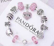 Authentic Pandora Sterling Silver Bracelet with European Charms MOM FAMILY LOVE.