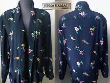 80's Spring NORMA KAMALI Floral Print Shoulder Pad Blazer Jacket