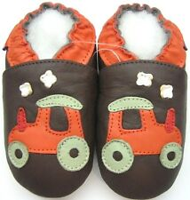 minishoezoo tractor brown 12-18 m soft sole leather baby boy walking shoes