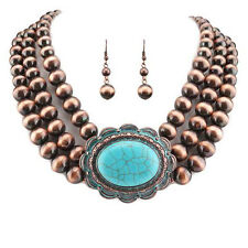 Navajo Pearl W/ Oval Stone Turquoise & Copper Necklace Set.