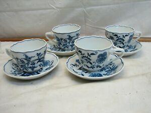 4 Blue Danube Japan Teacups & Saucers Dinnerware Blue Onion Coffee Tea Cup