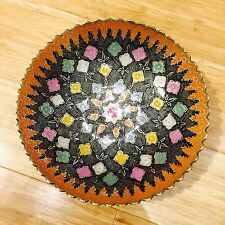 Collectable Brass Decorative Fruit Plate Bowl Hand Painted Enamled