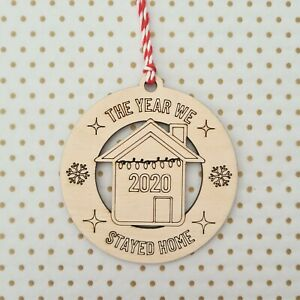 Lockdown 2020 Bauble ~ Christmas Tree Decoration ~ Wooden Gift ~ House