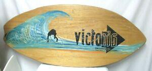 """Vintage Victoria Skimboard with Surfer Laguna Beach 45"""" x 20"""" blue beige"""