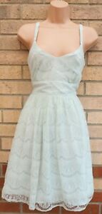 PRIMARK MINT GREEN LACE STRAPPY SKATER FLIPPY FULL FLARE A LINE PARTY DRESS 12 M