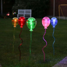 5 SOLAR POWERED OUTDOOR GARDEN PATH LAWN FLOWERBED BALLOON 60CM STAKE LED LIGHTS