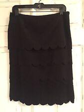 Anthroplogie Maeve Scalloped Black Skirt Sz 6