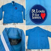 ST LOUIS IS FOR LOVERS - Vtg 60s Sears Blue Windbreaker Jacket, Mens MEDIUM
