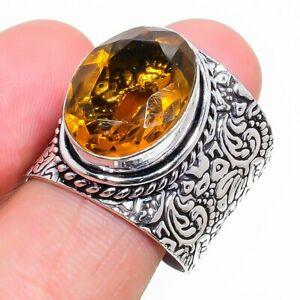 Honey Topaz Gemstone Handmade 925 Sterling Silver Jewelry Ring Size 7.5 h952