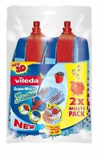 Vileda supermocio 3 action twin pack remplacement mop head recharge 137469 bleu