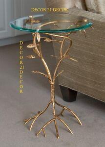 HOLLYWOOD REGENCY ANTIQUE GLASS TOP GOLD LEAF BRANCH TABLE!!!