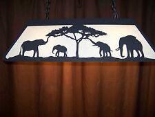 Laser cut Steel ELEPHANT FAMILY Pool Table Light Lamp Rustic Decor linen shades