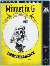 MINUET IN G by BEETHOVEN (1936 Arrangement for Piano) SHEET MUSIC