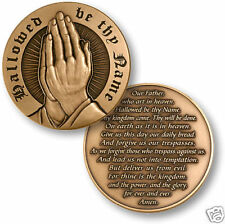 """THE LORD'S PRAYER BIG BRONZE 1.75"""" MADE IN USA CHALLENGE COIN"""