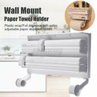 Kitchen Wall Mount Paper Towel Holder Cling Film Spice Rack Roll Foil