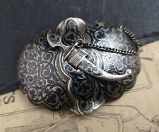 Antique Russian silver niello belt buckle, kindjal clasp