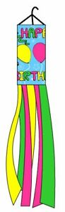 "60"" Happy Birthday Celebration Shiny Printed Nylon Wind Sock Windsock"