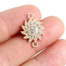 10x Gold Plated Crystal Rhinestone Sun Flower Link Connector Beads Charm Pendant