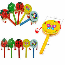 Cartoon Animal Hand Bell Wooden Rattle Drum Musical Instrument Toys