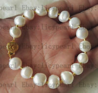 charme kultivierte 10-11mm weiß Barock Süßwasserperle Armband 8 Zoll