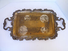 "Vtg Silver Plated 21.5""x11"" medium Serving decor Tray floral scroll pattern"