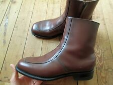 """Men's NWOB NEW! Executive Imperial Leather Zipper Ankle 7"""" Boots 8.5 E Brow"""