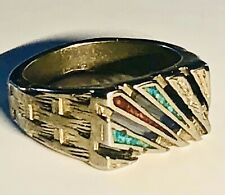 Vintage Southwestern American Turquoise & Coral Inlay Men's Ring Size 13