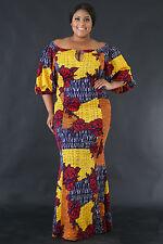 Off Shoulder Rose Pattern Mermaid Dress Popular Fashion giti online Plus Size