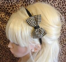 """NEW BROWN HOUNDSTOOTH COUNTRY CHECK TWEED 3"""" SIDE BOW BLACK ALICE HAIR HEAD BAND"""