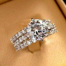 Certified 3.25Ct  Round Diamond Engagement Wedding Ring Set 14k White Gold Over