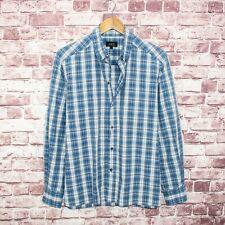 A.P.C Men's Designer Button Down Shirt Blue Plaid Cotton Size Large