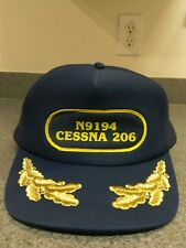 N9194 Cessna 206 Captain's Hat Navy Blue Cap Aircraft Airplane EUC!!!