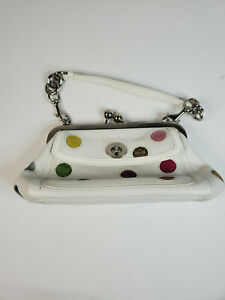 Coach Limited Edition Womens Purse Handbag Clasp Multicolor Polka Dot Leather