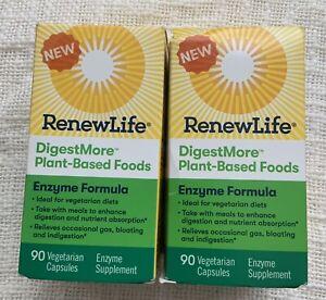 Renew Life, Digest More Plant Based, 90 Vegetarian Capsules (Lot Of 2)