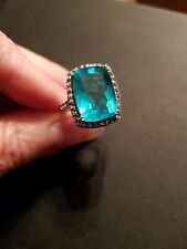 Huge Silver 925 Tourmaline Stone Ring Size S  7.7 Grams Stunning