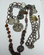Long Chunky CHICOS Faux COINS Necklace