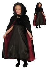 Kids Witch Halloween Costume Hooded Gothic Vampiress Cape Black Child