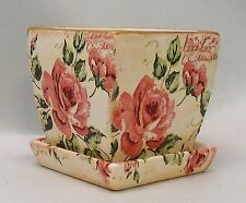 Handmade Decoupage Square Flower Pot, Vintage Pink Roses, Shabby Chic, 4""
