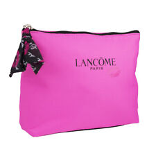 Lancome Pink with Printed Lips Cosmetic Makeup Travel Bag