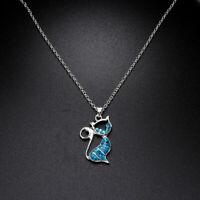 exquisite mode frauen trendy katzen - anhänger kette schmuck opal - kette