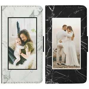 Personalised Photo Phone Case Marble Custom Picture Flip Wallet Cover