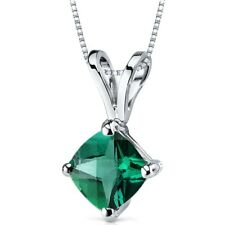 0.75 Ct Cushion Cut Emerald Pendant in 14k White Gold 18""