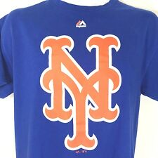 New York Mets T Shirt Majestic MLB Baseball Blue Cotton Mens Medium
