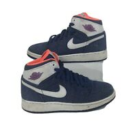 Youth Nike Air Jordan 1 High Retro Premium 332148-411 Size 4Y White Hyper Orange