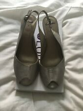 Clarks Silver Leather Wedge Sandals Size 8