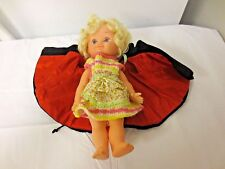 """Older Playmates 10"""" Charactor Doll with Red Satin Lined Black Cape Coat"""