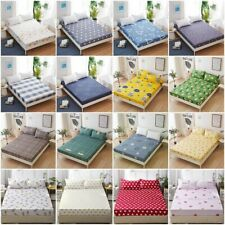 Simple Bed Fitted Sheet Elastic Sheets Bedspread King Size Bedding Cover Floral